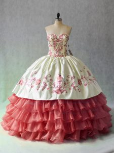Satin and Organza Sleeveless Floor Length Quince Ball Gowns and Embroidery and Ruffled Layers
