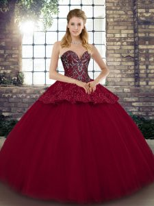 Beading and Appliques Sweet 16 Quinceanera Dress Burgundy Lace Up Sleeveless Floor Length