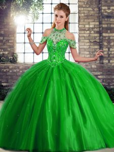 Green Halter Top Lace Up Beading Quinceanera Dresses Brush Train Sleeveless