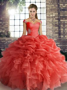 Dynamic Orange Red Ball Gowns Beading and Ruffles and Pick Ups Quinceanera Dresses Lace Up Organza Sleeveless Floor Length