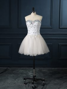 Sweetheart Sleeveless Lace Up Wedding Dress Champagne Organza