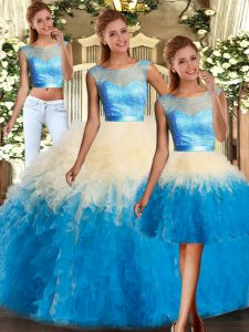 Popular Multi-color Sleeveless Organza Backless Vestidos de Quinceanera for Military Ball and Sweet 16 and Quinceanera