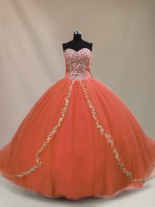 Popular Orange Sleeveless Beading Lace Up Quinceanera Dress