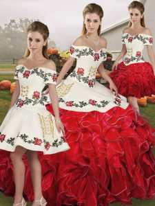 Discount White And Red Sleeveless Floor Length Embroidery and Ruffles Lace Up Quince Ball Gowns