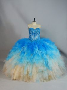 Multi-color Ball Gowns Appliques and Ruffles 15 Quinceanera Dress Lace Up Tulle Sleeveless