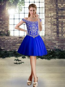 Glorious Royal Blue Lace Up Homecoming Dress Beading Sleeveless Mini Length