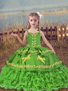 Ball Gowns Little Girl Pageant Dress Straps Organza Sleeveless Floor Length Lace Up