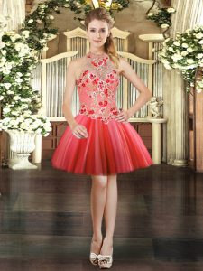 Mini Length Ball Gowns Sleeveless Coral Red Prom Dress Lace Up