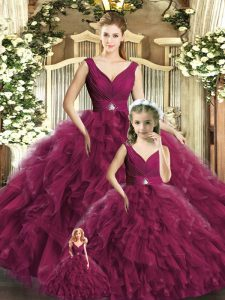 Burgundy V-neck Backless Beading and Ruffles Sweet 16 Dresses Sleeveless