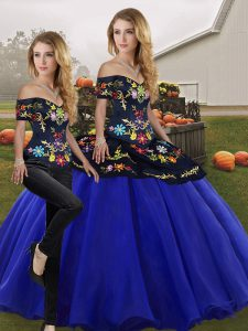 Ideal Floor Length Two Pieces Sleeveless Royal Blue Quince Ball Gowns Lace Up