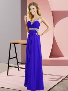 Extravagant Blue Empire Beading Prom Gown Criss Cross Chiffon Sleeveless Floor Length