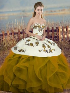 Smart Floor Length Brown Quinceanera Gown Sweetheart Sleeveless Lace Up
