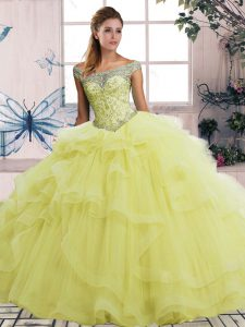 Romantic Yellow Ball Gowns Beading and Ruffles Quinceanera Gown Lace Up Tulle Sleeveless Floor Length