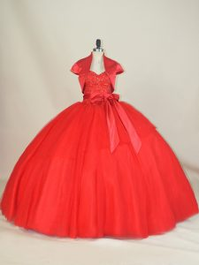 Fine Red Ball Gowns Sweetheart Sleeveless Tulle Floor Length Lace Up Beading and Bowknot Sweet 16 Quinceanera Dress