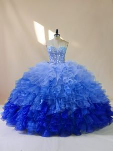 Ball Gowns Quince Ball Gowns Multi-color Sweetheart Organza Sleeveless Floor Length Lace Up