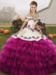 Simple Fuchsia Lace Up Off The Shoulder Embroidery and Ruffled Layers Quinceanera Gown Organza Sleeveless