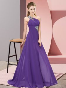 Spectacular Floor Length Lace Up Evening Dresses Purple for Prom and Party with Beading