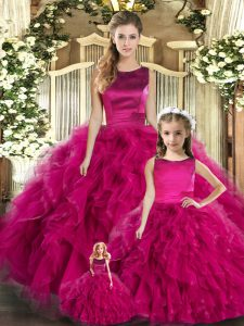 Fuchsia Sleeveless Tulle Lace Up Ball Gown Prom Dress for Military Ball and Sweet 16 and Quinceanera