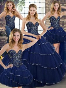 Comfortable Navy Blue Tulle Lace Up Sweetheart Sleeveless 15 Quinceanera Dress Brush Train Beading and Ruffled Layers