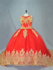 Custom Made Red Ball Gowns Scoop Sleeveless Tulle Court Train Lace Up Appliques Quinceanera Dress