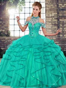 Glorious Turquoise Lace Up Halter Top Beading and Ruffles Sweet 16 Dresses Tulle Sleeveless