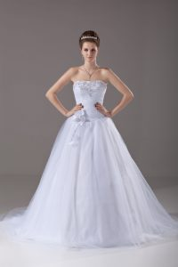 Brush Train Ball Gowns Bridal Gown White Sweetheart Tulle Sleeveless Lace Up