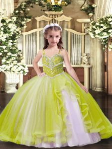 Sleeveless Tulle Floor Length Lace Up Evening Gowns in Yellow Green with Beading