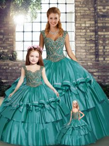 Elegant Ball Gowns Sweet 16 Quinceanera Dress Teal Straps Taffeta Sleeveless Floor Length Lace Up