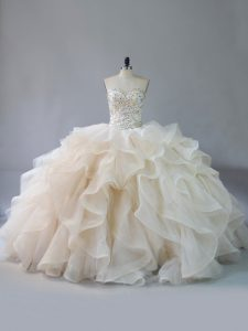 Champagne Quinceanera Dresses Sweet 16 and Quinceanera with Beading and Ruffles Sweetheart Sleeveless Brush Train Lace Up