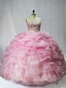 Noble Floor Length Baby Pink Sweet 16 Dress Organza Sleeveless Beading and Ruffles and Pick Ups