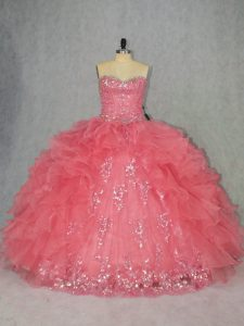 Comfortable Watermelon Red Sleeveless Floor Length Beading and Ruffles Lace Up Sweet 16 Quinceanera Dress