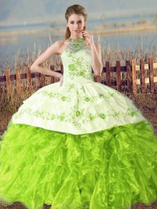 Floor Length Ball Gowns Sleeveless Vestidos de Quinceanera Court Train Lace Up