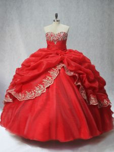 Ball Gowns Sweet 16 Quinceanera Dress Red Sweetheart Organza Sleeveless Floor Length Lace Up