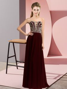 Brown Lace Up Sweetheart Beading Evening Gowns Chiffon Sleeveless