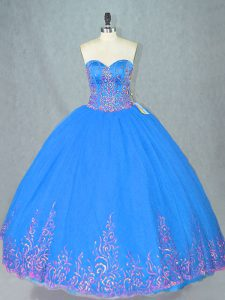 Fancy Floor Length Lace Up Quinceanera Dress Blue for Sweet 16 and Quinceanera with Beading and Embroidery