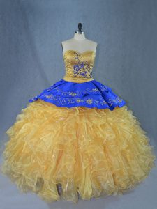 Exceptional Gold Sweet 16 Dress Sweetheart Sleeveless Brush Train Lace Up