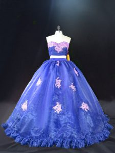 Blue Organza Zipper Sweet 16 Quinceanera Dress Sleeveless Brush Train Appliques