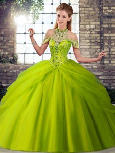 Brush Train Ball Gowns Quinceanera Gowns Olive Green Halter Top Tulle Sleeveless Lace Up