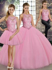 Shining Three Pieces 15th Birthday Dress Pink Scoop Tulle Sleeveless Floor Length Lace Up