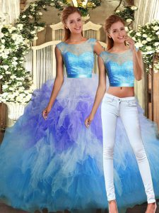 Excellent Sleeveless Tulle Floor Length Backless Quince Ball Gowns in Multi-color with Lace and Ruffles