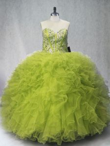 Beading and Ruffles Sweet 16 Dresses Olive Green Lace Up Sleeveless Floor Length