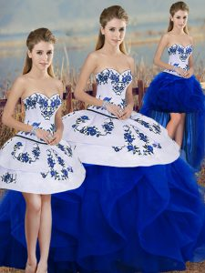 Sleeveless Tulle Floor Length Lace Up Quinceanera Dress in Royal Blue with Embroidery and Ruffles and Bowknot