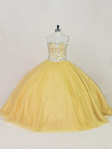 Beautiful Gold Sleeveless Tulle Lace Up Quinceanera Dress for Sweet 16 and Quinceanera