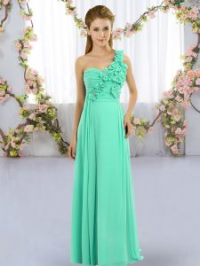 Turquoise Sleeveless Floor Length Hand Made Flower Lace Up Bridesmaid Dresses