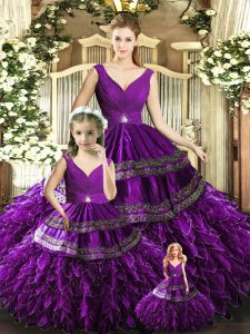 Organza V-neck Sleeveless Backless Beading and Embroidery and Ruffles Quinceanera Dresses in Purple