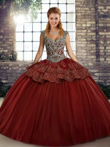 Sumptuous Wine Red Straps Lace Up Beading and Appliques Quince Ball Gowns Sleeveless