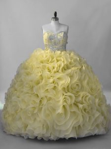 Yellow Sleeveless Beading Lace Up Sweet 16 Quinceanera Dress