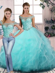 Enchanting Aqua Blue Two Pieces Off The Shoulder Sleeveless Tulle Floor Length Lace Up Beading and Ruffles Quince Ball Gowns