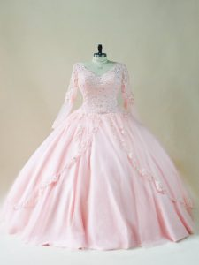 Baby Pink Long Sleeves Floor Length Beading and Appliques Lace Up Sweet 16 Dresses