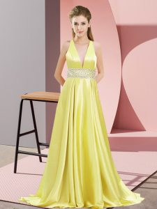 Sleeveless Elastic Woven Satin Brush Train Backless Prom Evening Gown in Yellow with Beading